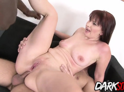 Crimson haired dame Vera Sheer Pleasure is fellating 2 fuck sticks and having an bi racial three way all day lengthy