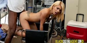 Asian Blonde Loves Massive Black Cocks During a Job Interview for A Serious Job that She Applied
