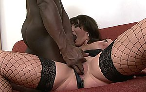 Gorgeous brunette milf babe sucks and fucks