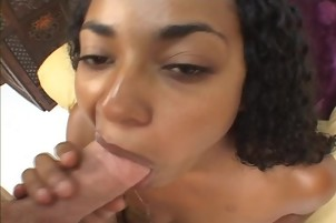 Amateur Black Chick Loves Sucking On White Dick