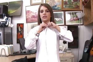 Hot Vixen Shows Off Her Goodies To Pawnshop Owner