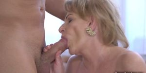 Blonde Nasty Gilf Enjoying a Hard Cock
