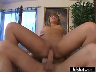 Lorena Sanchez moans while bouncing on a dong
