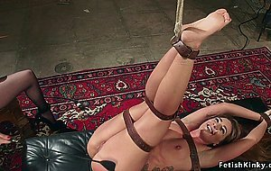 Submissive lesbian spanked and whipped