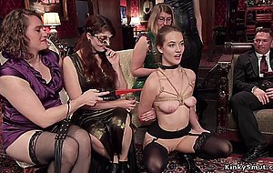 Hot babes fuck big dick at orgy party