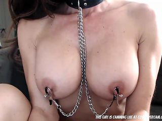 Fitness MILF with breastclamps on