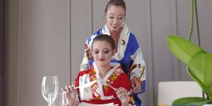 Japanese teen geisha s eat out and scissor