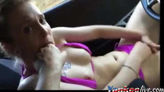 Amateur masturbating in car