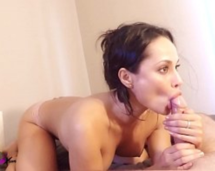 Sexy Brunette Sloppy Blowjob Closeup