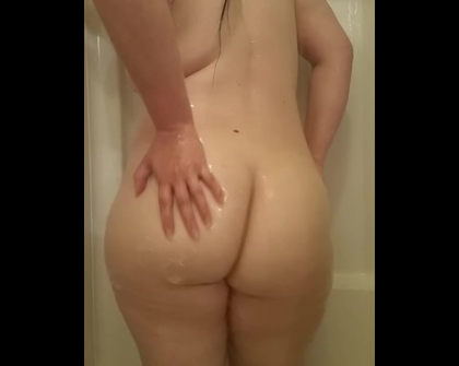 My wifes glorious ass in shower 4