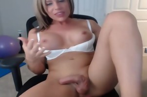 white pale skin cute tranny wanking and cumming on the webcam
