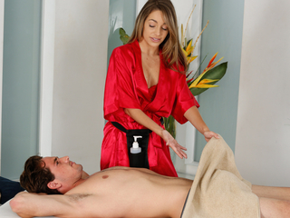 Shy guy on his first massage with Kimmy Granger
