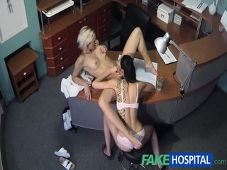 Lesbian Love In Hospital Reception
