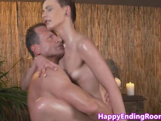 Massage client fucks her masseur