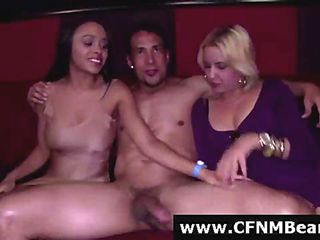 CFNM party babes suck stripper cock for amateur group