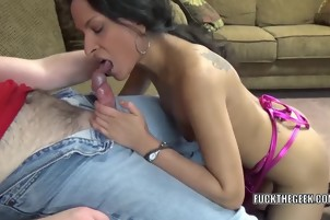 Sexy Girl With Dark Hair Gives A Great Blowjob
