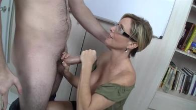 Busty MILF teacher milks student's cock dry with her pretty little hands