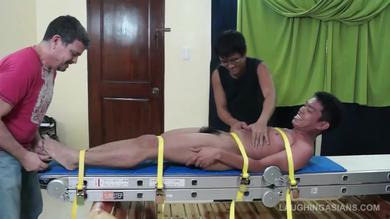 Laughing Asians: tickle fest with Asian twink tied for fetish gay action