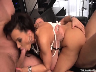 Busty Whore Takes Two Dicks