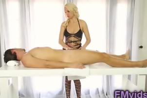 Sexy blonde gives an awesome blowjob