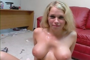 Blonde Girl Plays With Two Fat Penises For Cum