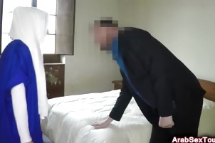 Sideways ramming for shaved pussy of Arab babe