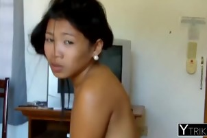 Asian rookie Ashley rides dick while guy plays with her tits